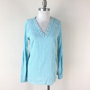 Michael kors S Aqua blue Stripe Tunic Silver